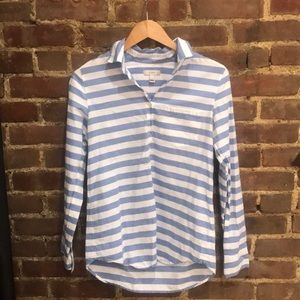 SZ 2 J.Crew Blue and White Blouse